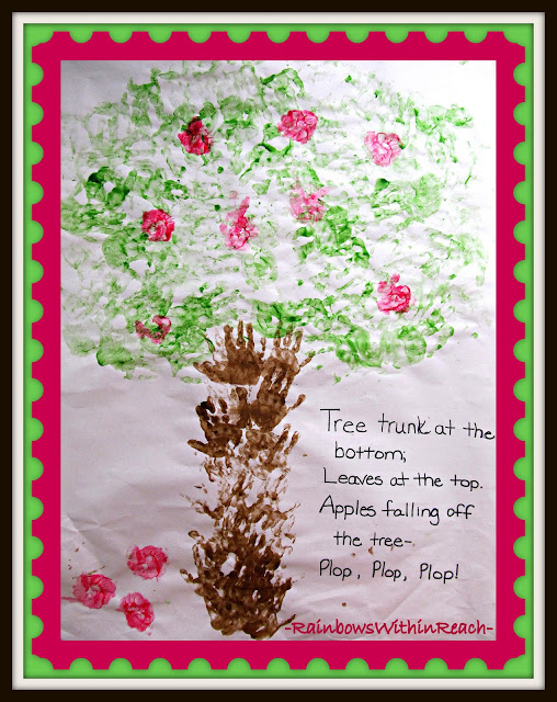 Painted Handprints become Apple Tree with Poem (at RainbowsWithinReach)