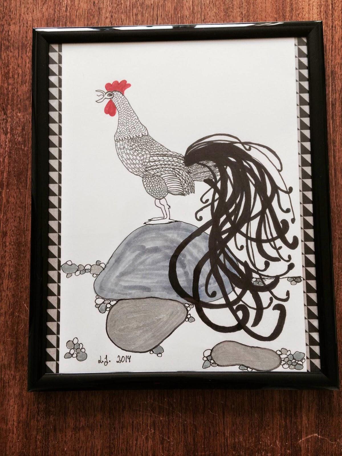 tegning af hane