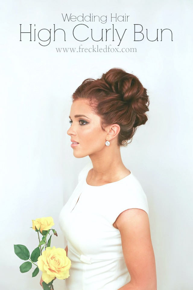 The Freckled Fox WEDDING HAIR WEEK High Curly Bun By Emily Meyers - Wedding hairstyle buns