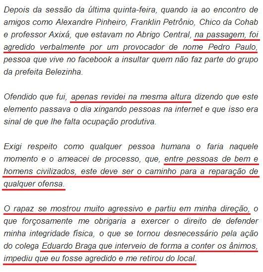 Chapadinha-MA: Vídeo Eduardo Sá - Nota
