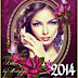 Frame-calendar 2014 with roses and butterflies [PSD]