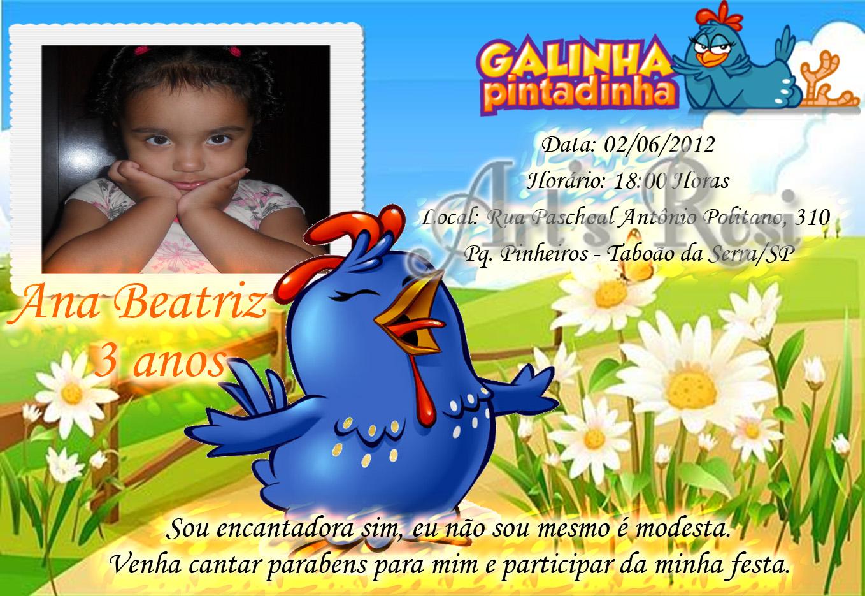 Convite Anivers  Rio Galinha Pintadinha