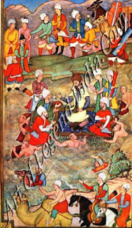 Bbur Crossing a River Seated on a Raft