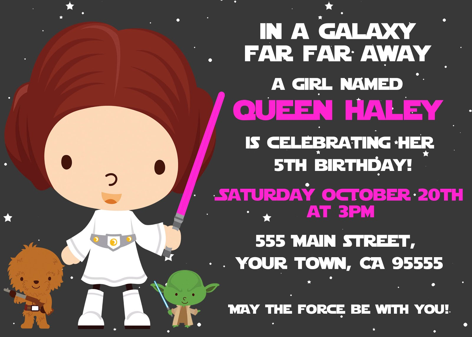 Rachels Party Place Star Wars Party - Star wars birthday invitation maker