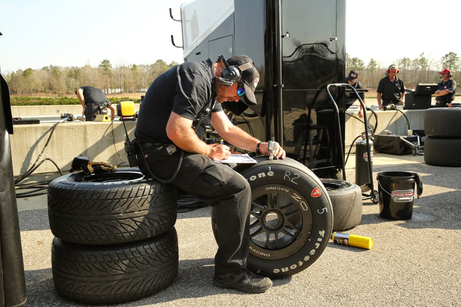 Schmidt Peterson Motorsports engineer records tire data during Tuesday's Open Test session at Barber Motorsports Park