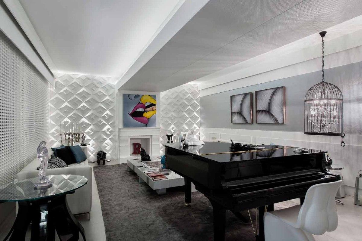 Construindo Minha Casa Clean 25 Pain Is Geom Tricos 3d Nas Paredes  -> Parede Sala Decorada Gesso