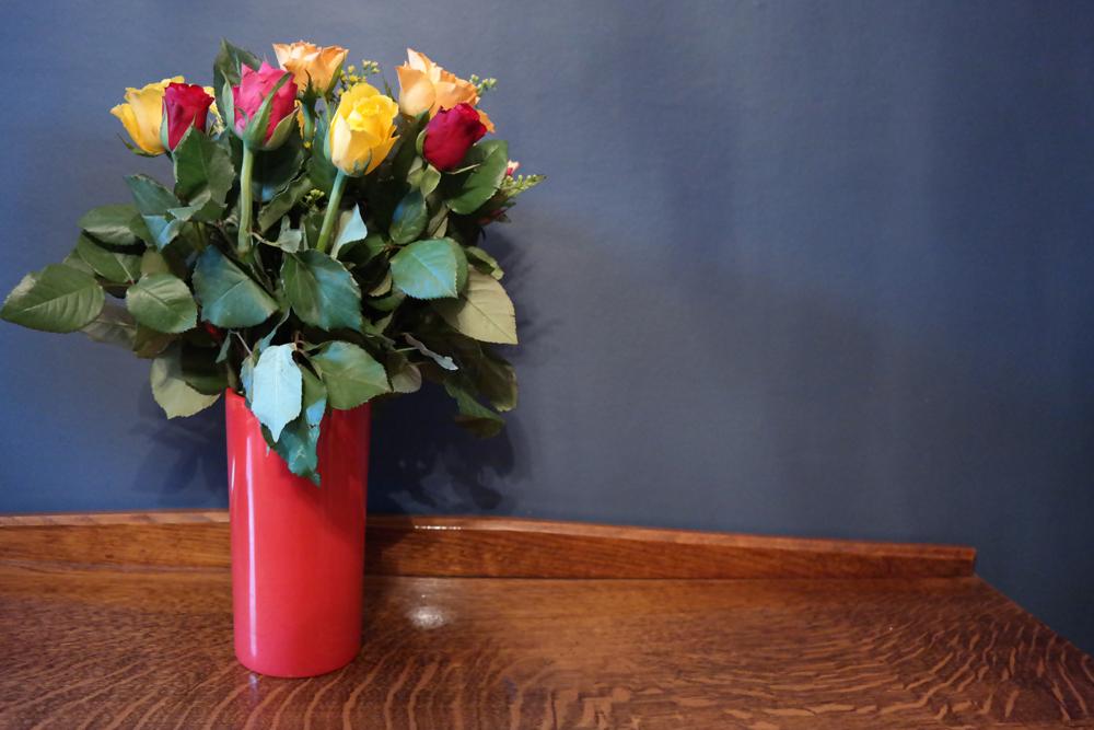 Vase full of roses