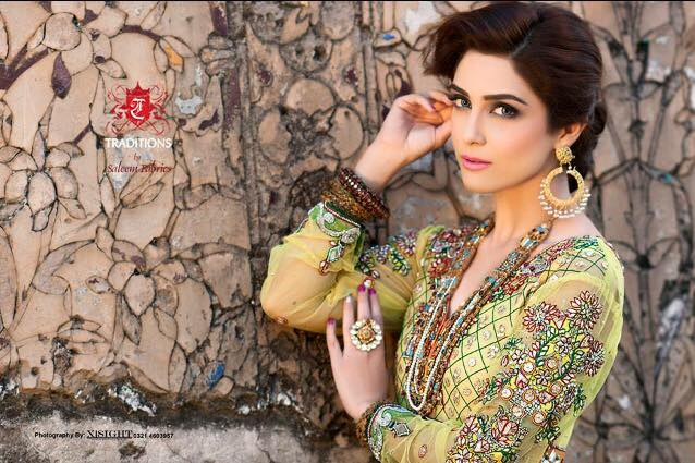 Maya Ali Photoshoot for Traditions by Saleem Fabrics