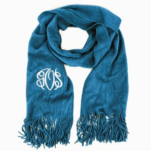 Teal Blue Monogram Cashmere Feel Fringe Scarf from emilyrosejewellery