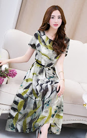 2015 Summer Leaves Print Chiffon Dress