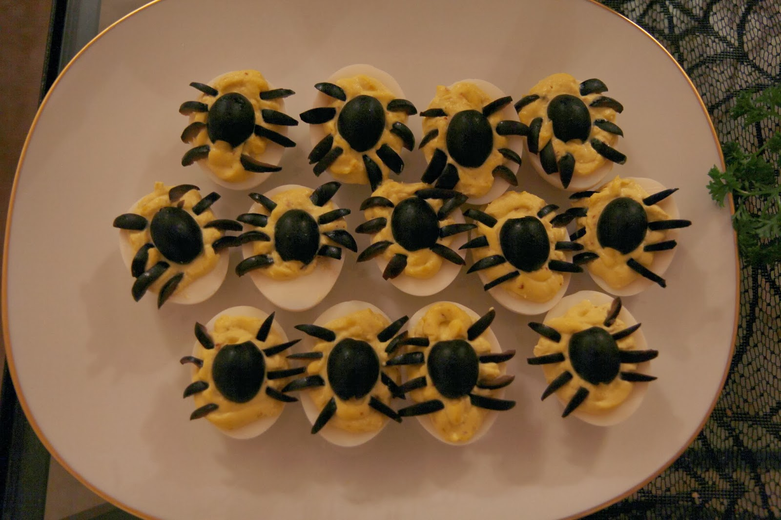 Deviled Eggs with Olive Spiders - Spooky Glam Halloween Party