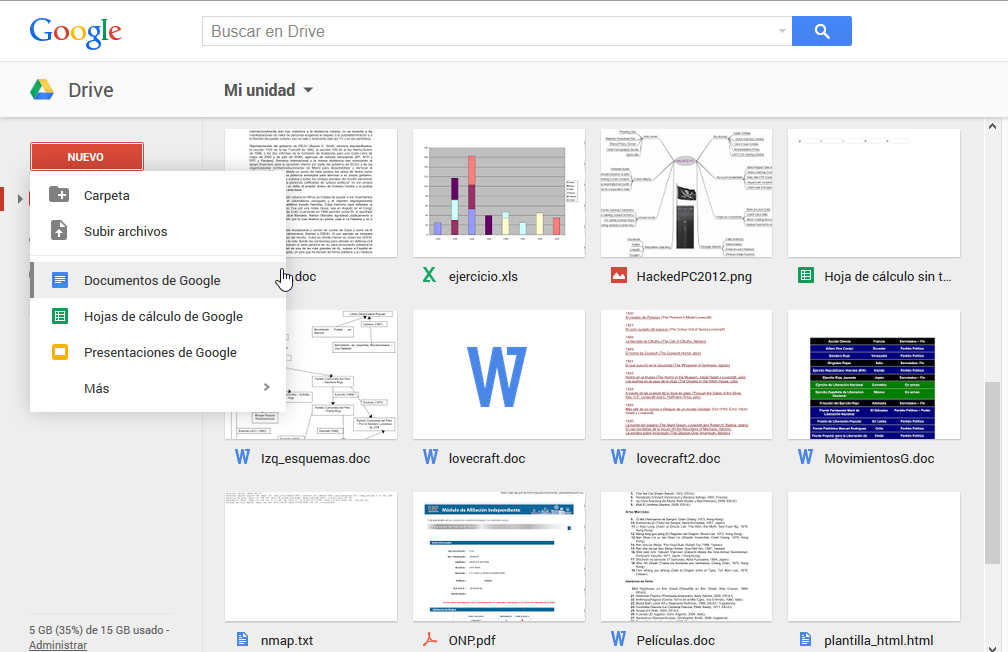 Servicios de Google: Drive + Docs