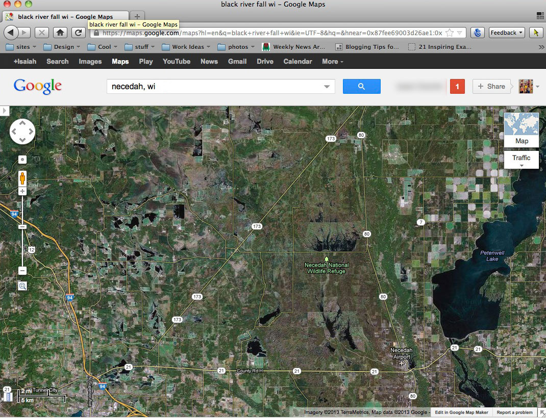 Google map search Necedah, WI to search for hunting land.