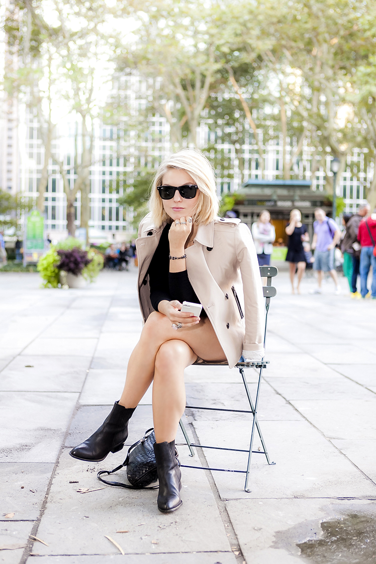 Hanging out in Bryant Park, Fashion Over Reason, Alexander Wang Anouk boots, Bottega Veneta intrecciato crossbody bag, Ray-Ban wayfarers, Ann Taylor mini trench, YSL Saint Laurent arty ring