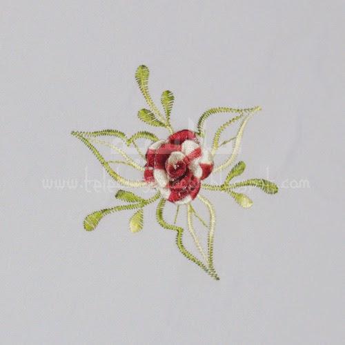 Telekung Vietnam bunga maroon / daun hijau-kuning sulam bunga timbul