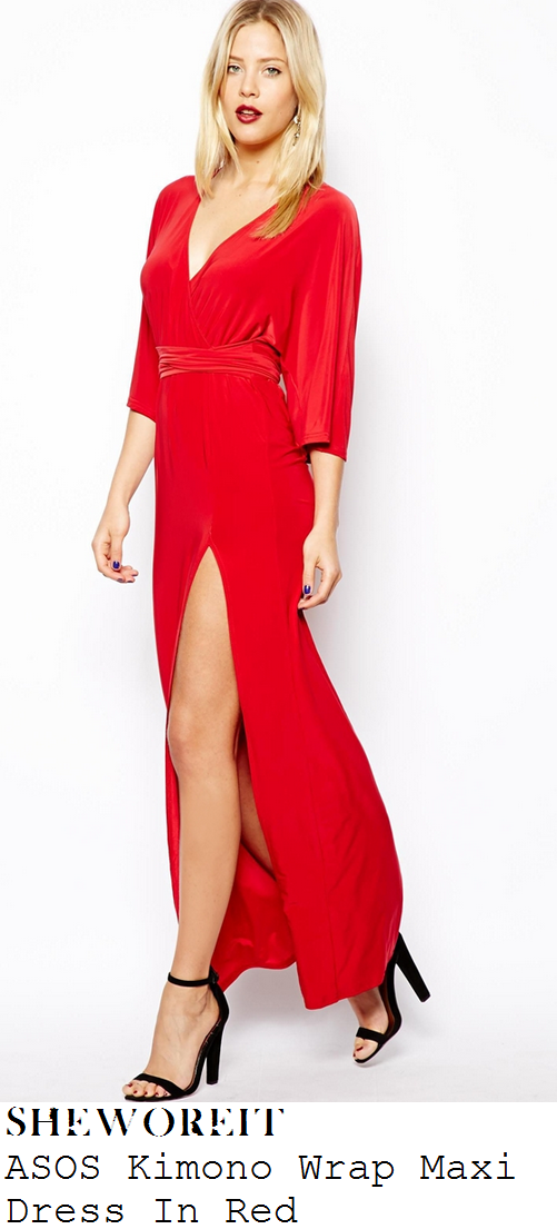 leigh-anne-pinnock-red-deep-v-neckline-wrap-front-three-quarter-kimono-sleeve-thigh-split-maxi-dress