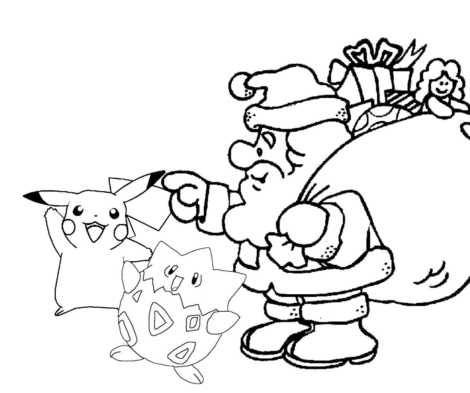 Santa Hat Coloring Sheets Pikachu