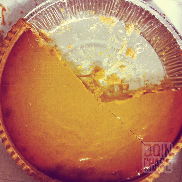 A massive pumpkin pie from Costco in South Korea.