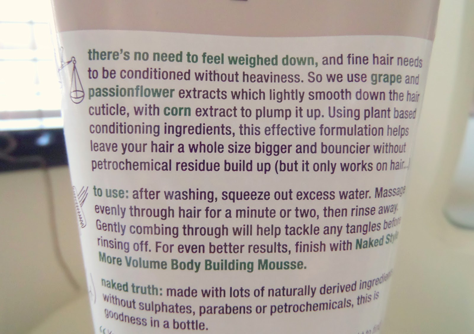 Naked Volume Body Building Shampoo & Weightless Conditioner Label