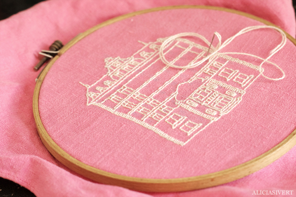 aliciasivert, alicia sivert, alicia sivertsson, embroidery, broderi, needlework, hoopart, textile art, textilkonst, the grand budapest hotel, building, architecture, arkitektur, hus, byggnad