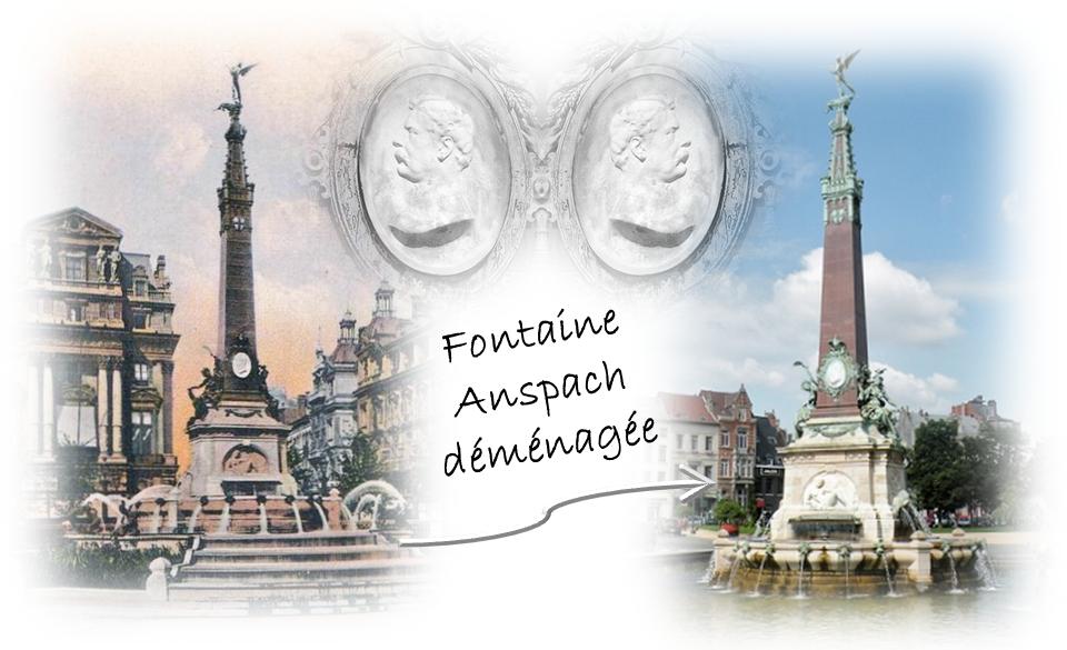 Fontaine Anspach déménagée de la place de Brouckère vers le bassin du Quai aux Briques (Vismet) - Bruxelles-Bruxellons