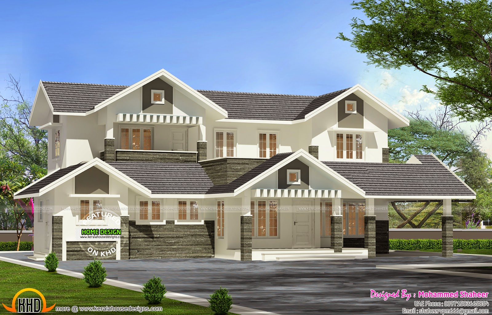 3000 sq ft modern villa plan kerala home design and for Home designs 3000 square feet