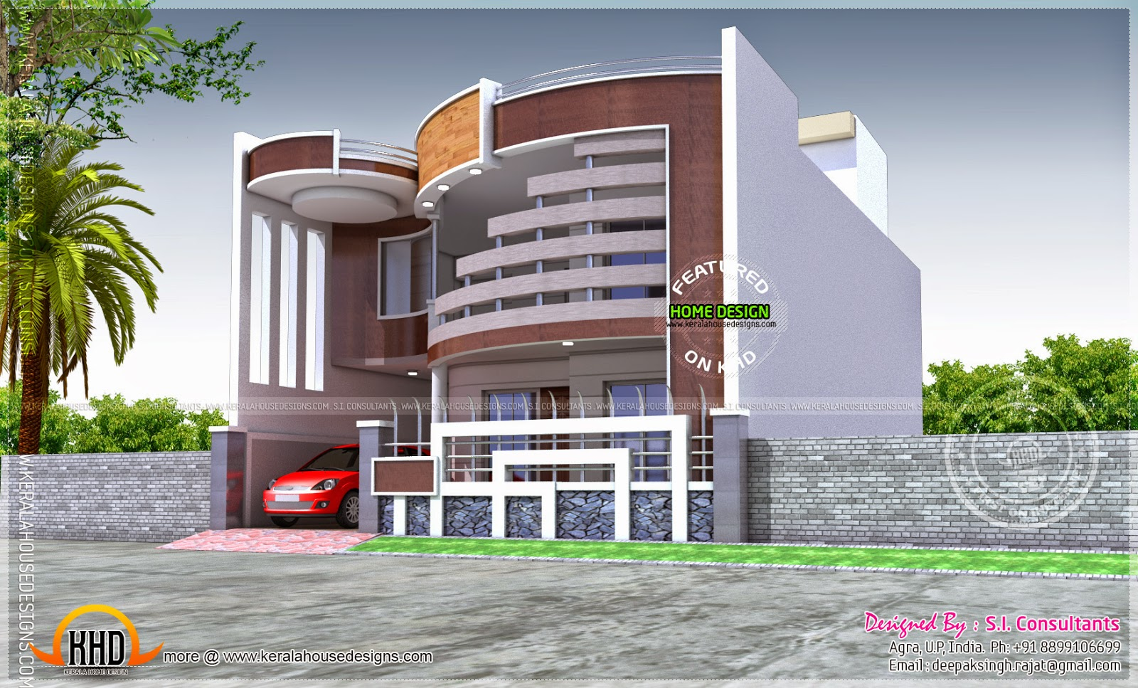 Unique house with ground and first floor plan kerala for Cool house designs