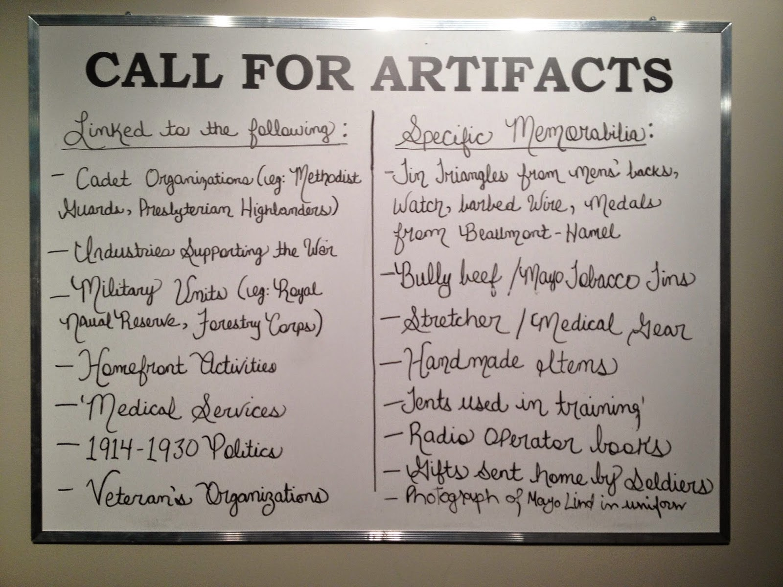 "The Rooms Museum ""Call for Artifacts"" for ""Collecting the Great War"""