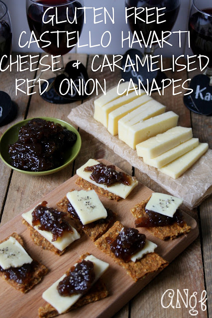 Gluten Free Castello Havarti & Caramelised Red Onion Canapes for New Year's Eve | Anyonita-Nibbles.co.uk