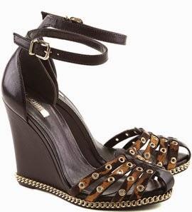 coleção outono inverno 2014 sandália anabela onça com correntes
