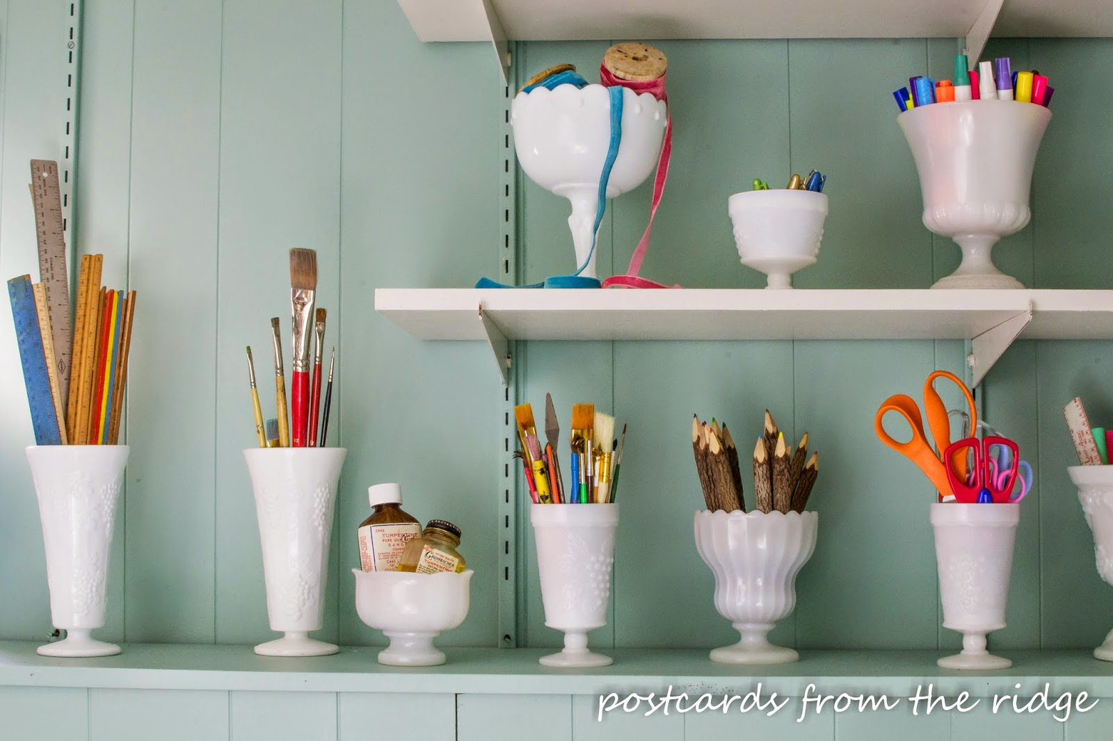Using thrifted milk glass for organizing craft supplies. I love this!! #organize