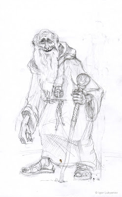 old monk sketch, fantasy art