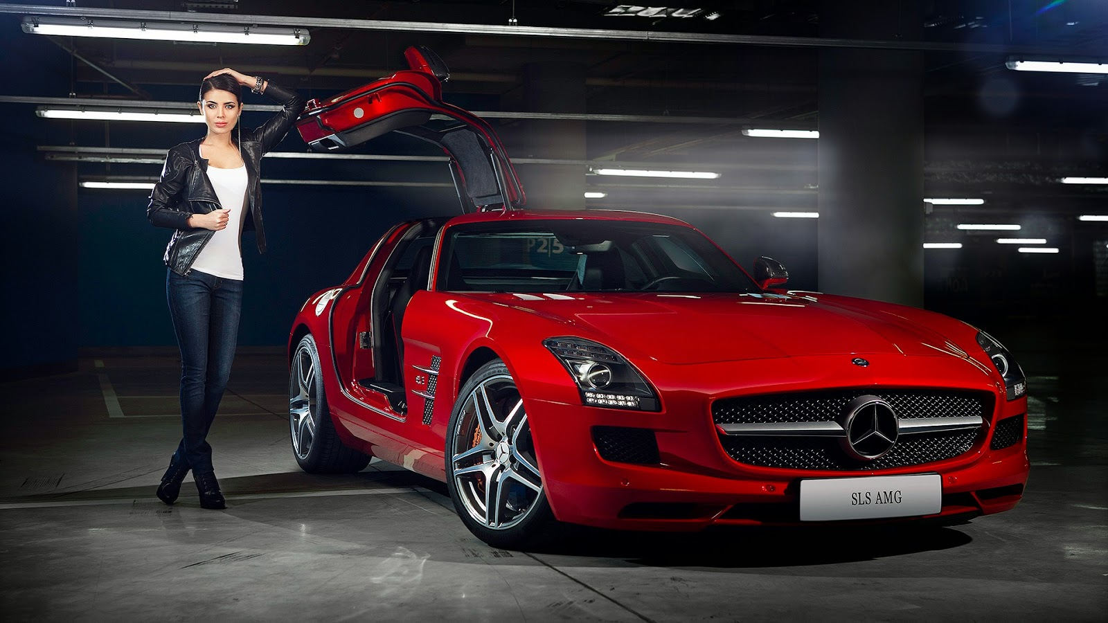 Wallpaper Mercedes-Benz SLS AMG Rojo