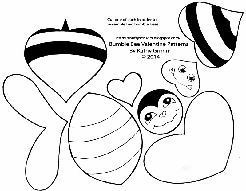This Honey Bee Pattern Includes Bumble Parts For Two Valentines You Will Need To Cut One Of Each Before Tracing Them On Bright Yellow And White