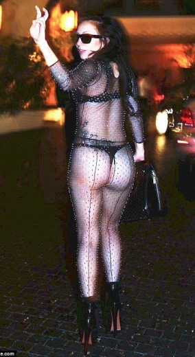 lady gaga shows off her ass as she  steps out in Transparent Bra