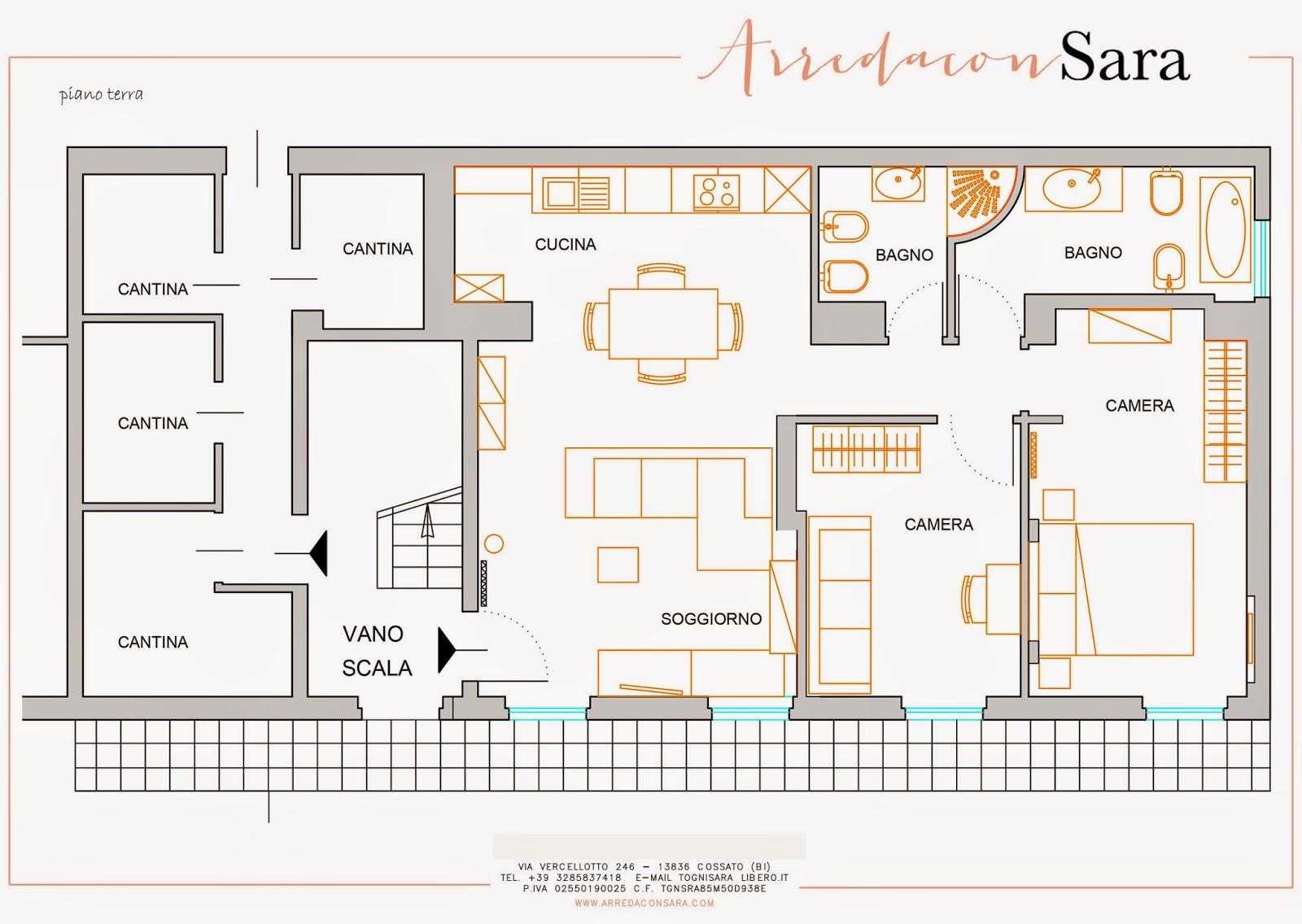 Progetto d 39 interni per un appartamento a vigliano arreda for 2 piani letto 2 bagni