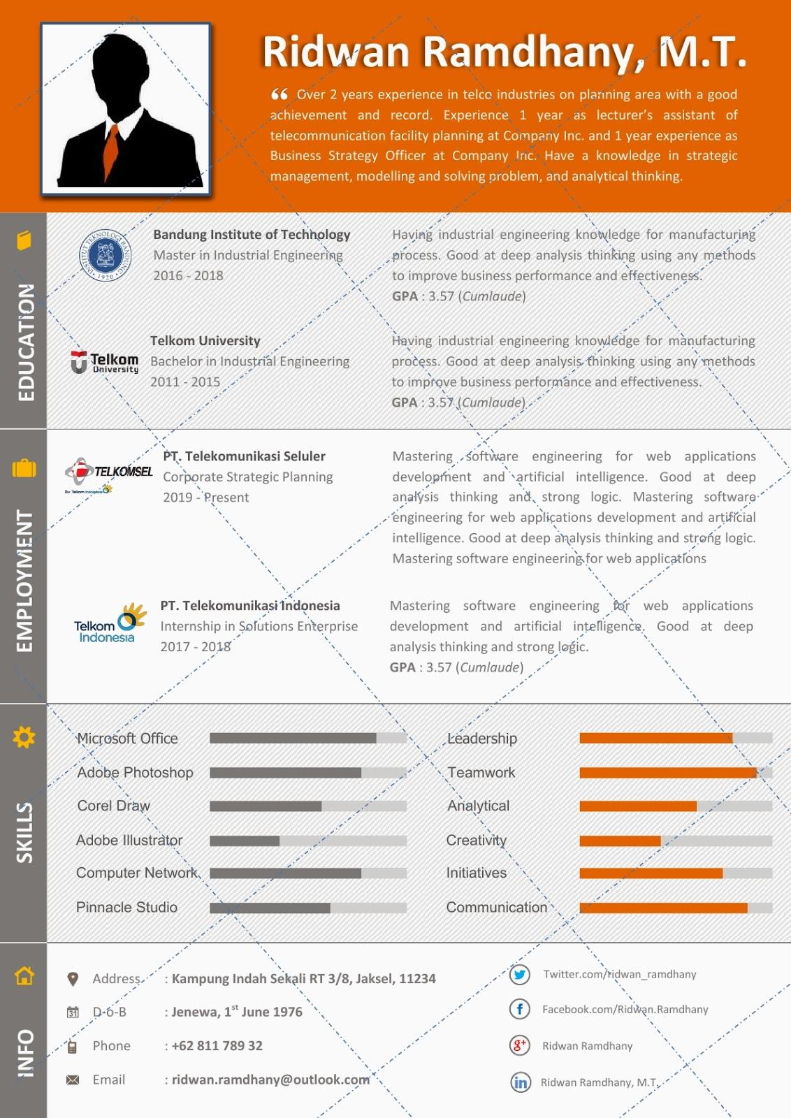 Desain CV Kreatif: Rivela - Contoh CV Teknik Industri