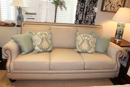 Harden Domaine Sofa In Beige Fabric With Nailhead Trim Detail.