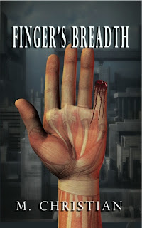 Book cover shows a hand held up straight, palm facing the reader, drawn so that some of the bones and muscles appear visible. The pinkie finger has been cut off halfway up, leaving a gory, bloody stump. An indistinct gray background suggests a sinister urban landscape.