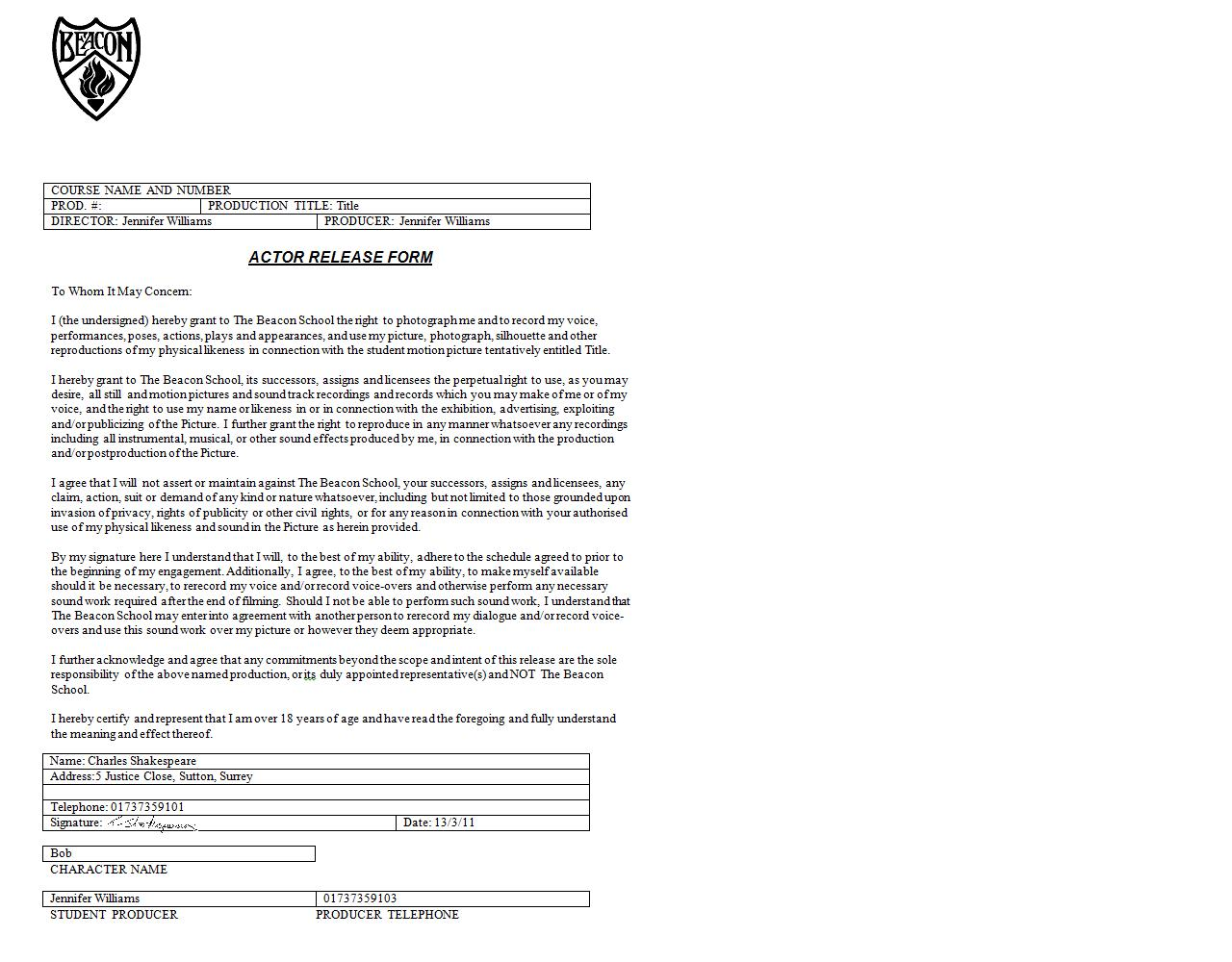 PreProduction Actor Release Forms – Actor Release Forms