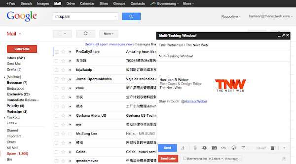 New GMail compose window. Screenshot from TNW