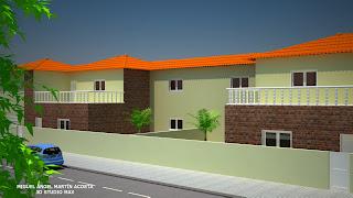Vista de casas adosadas en una urbanización desde la derecha