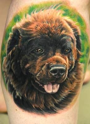 tattoo de cachorro fofinho no antebraço realista em 3D
