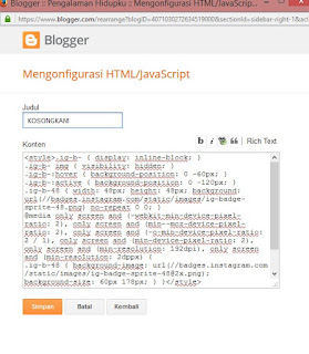 tempel kode html IG anda