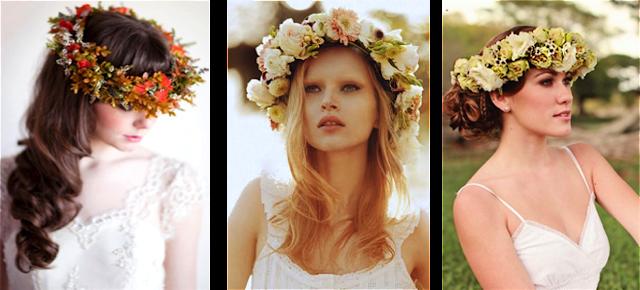 Corona de flores para novia en colores vivos