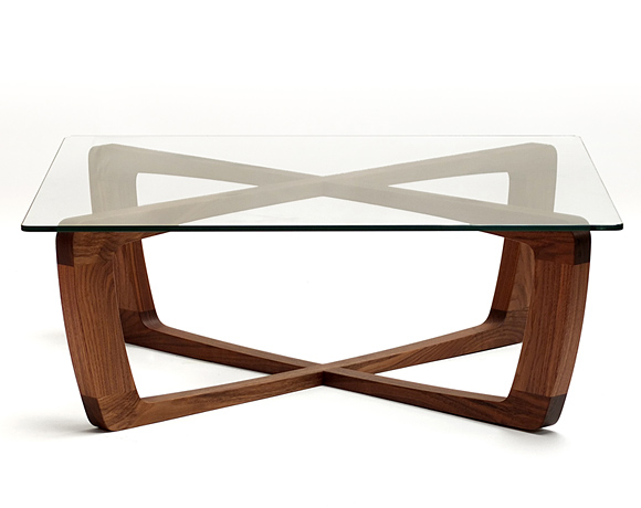 Mx design studio - Table basse bois et verre carree ...