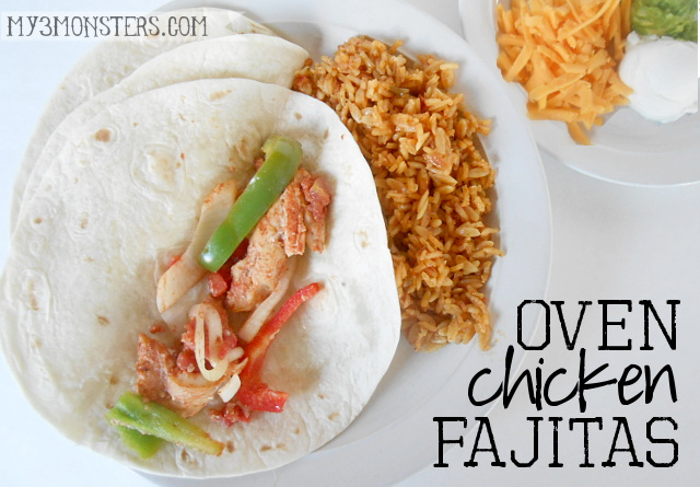 Recipe for delicious Oven Chicken Fajitas at my3monsters.com