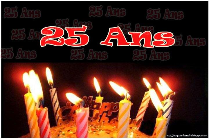 Célèbre Carte anniversaire 25 ans gratuite imprimer | sms d'anniversaire  MP46