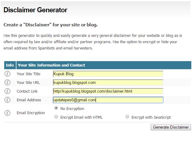 Cara Membuat Laman Disclaimer di Blog Dengan Mudah