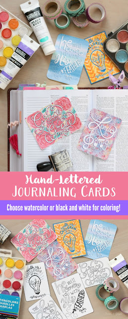 Free Hand-Lettered Journaling Cards--Download these printable freebies to add to your Bible pages! www.pitterandglink.com